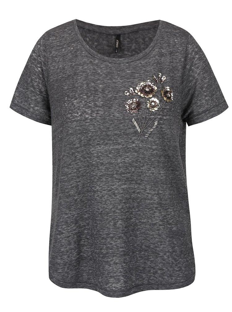 Tmavě šedé žíhané tričko s motivem květin a flitry ONLY Maddie