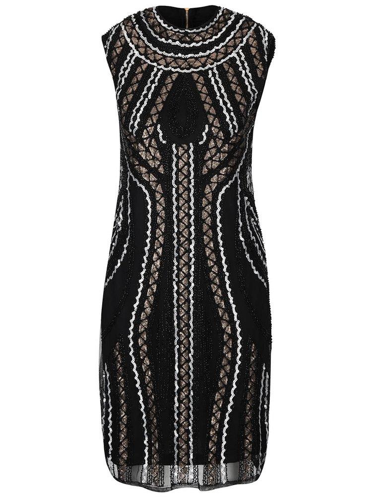 Černé šaty s flitry a korálky Mela London