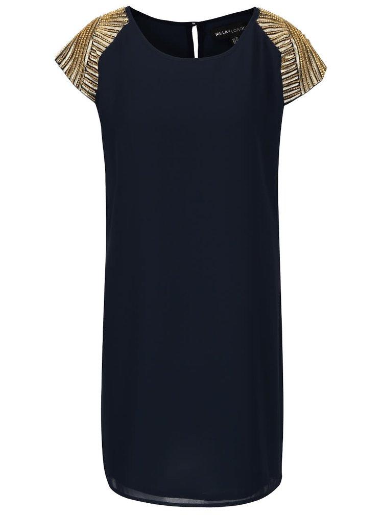 Tmavě modré šaty se aplikací ve zlaté barvě Mela London