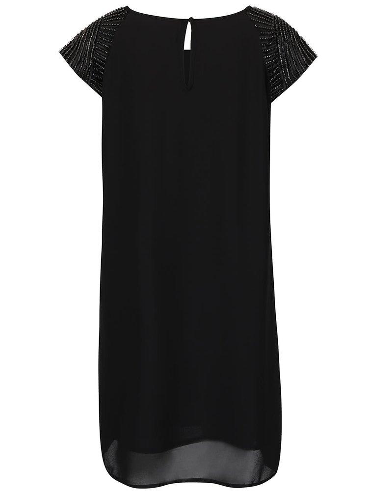 Čierne šaty s aplikáciou na ramenách Mela London