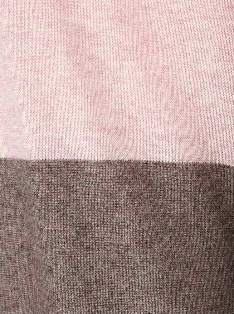 Ružovo-hnedý pruhovaný dlhý kardigan Lavand
