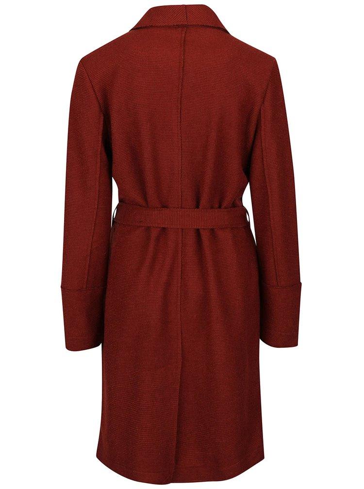 Cihlový lehký žebrovaný kabát VERO MODA Sabrina
