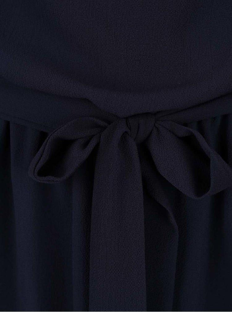 Tmavě modré šaty s mašlí v pase Lavand