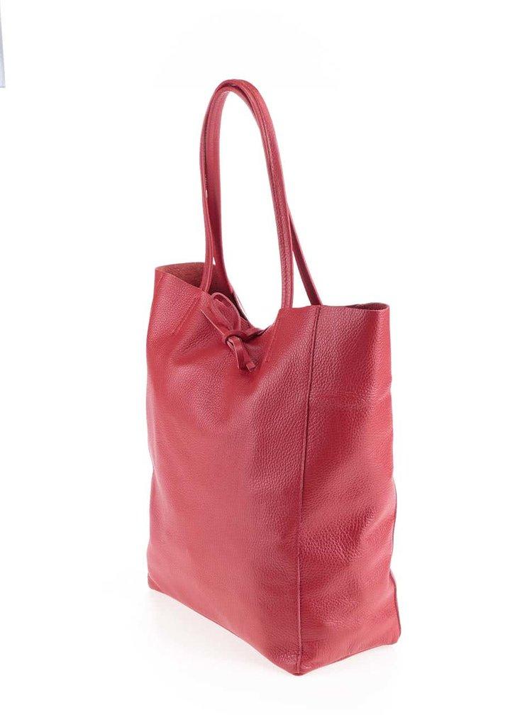 Červený kožený shopper ZOOT Simple