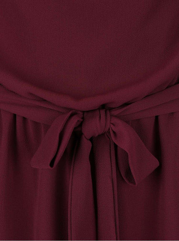 Vínové šaty s mašľou v páse Lavand