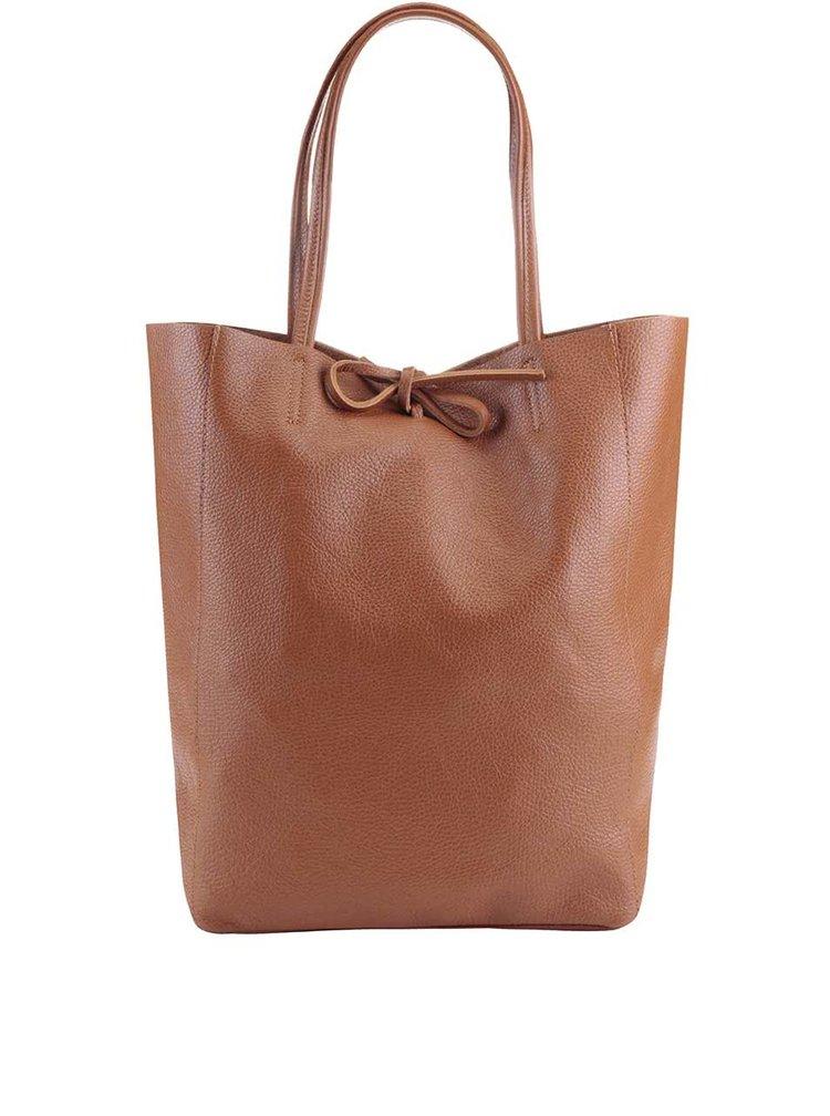 Světle hnědý kožený shopper ZOOT Simple