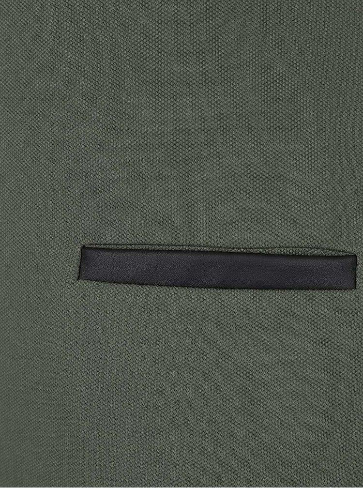 Kaki šaty s koženkovými detailmi Lavand