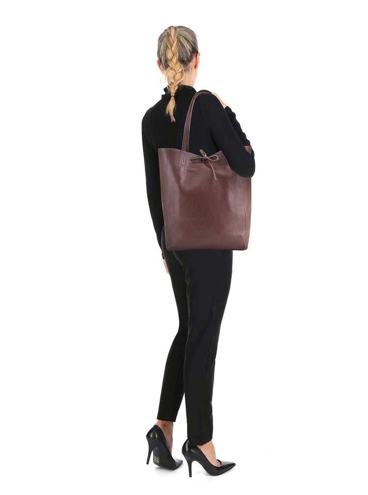 Hnědý kožený shopper ZOOT Simple