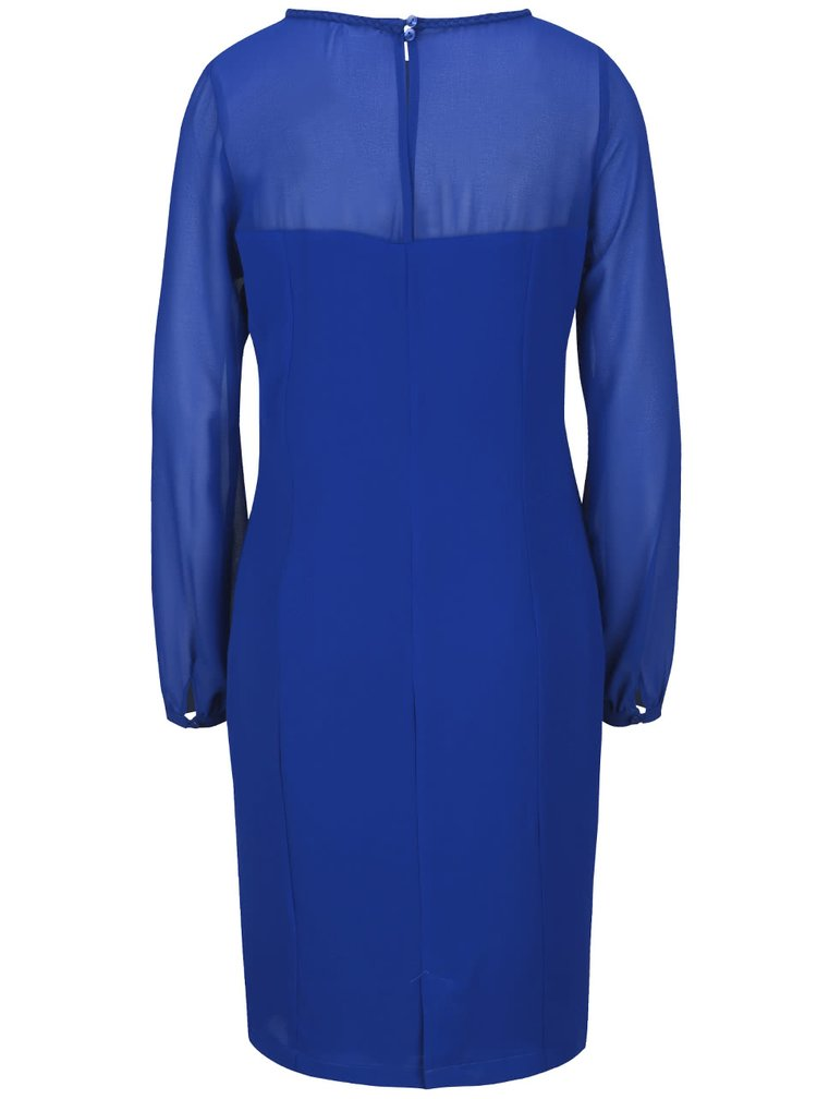 Modré šaty s priehľadnými rukávmi a dekoltom Lavand