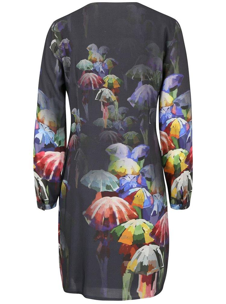 Sivé šaty s farebnou potlačou Lavand