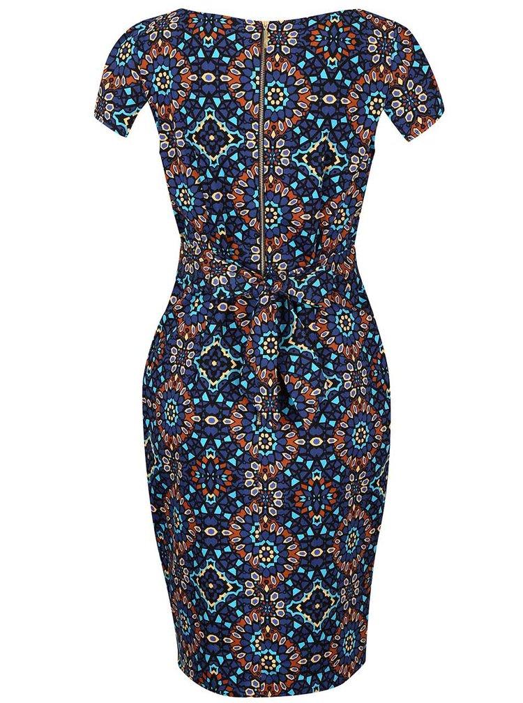 Hnedo-modré vzorované šaty Closet