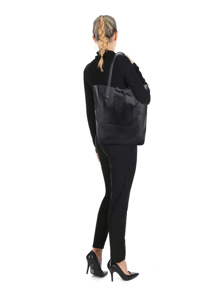 Čierny kožený shopper ZOOT Simple