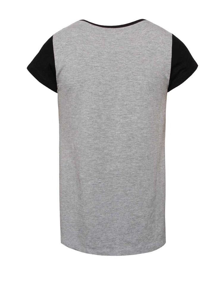 Sivo-čierne dievčenské tričko so sieťovanými rukávmi 5.10.15.