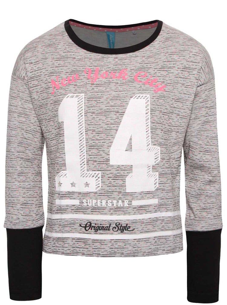 Šedé žíhané holčičí tričko s potiskem a dlouhým rukávem 5.10.15.