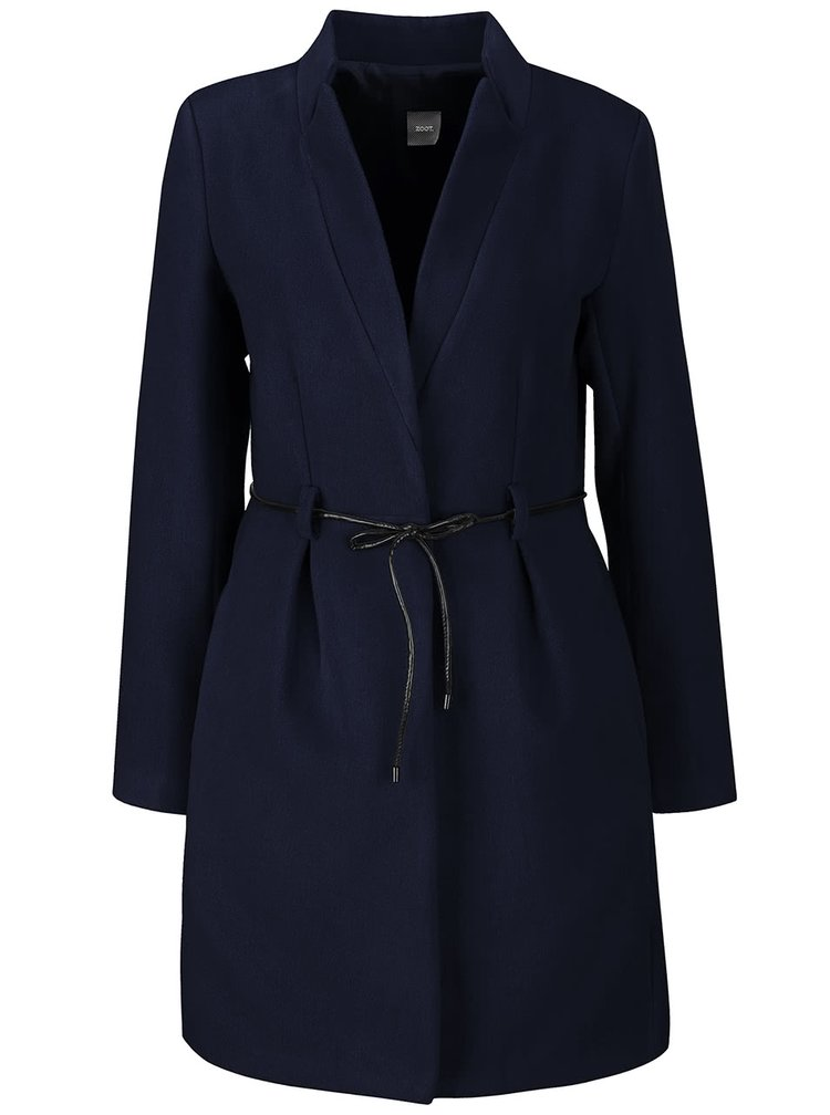 Tmavě modrý kabát s tenkým páskem ZOOT Simple