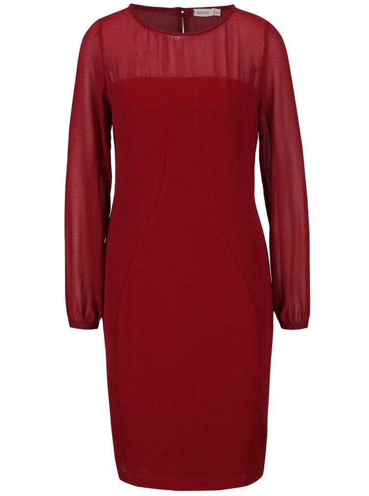 Vínové šaty s priehľadnými rukávmi a dekoltom Lavand
