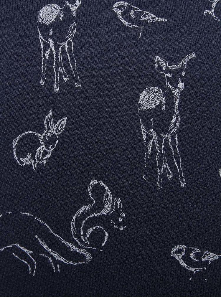Tmavě modrá holčičí mikina s volánkem a motivem zvířat 5.10.15.