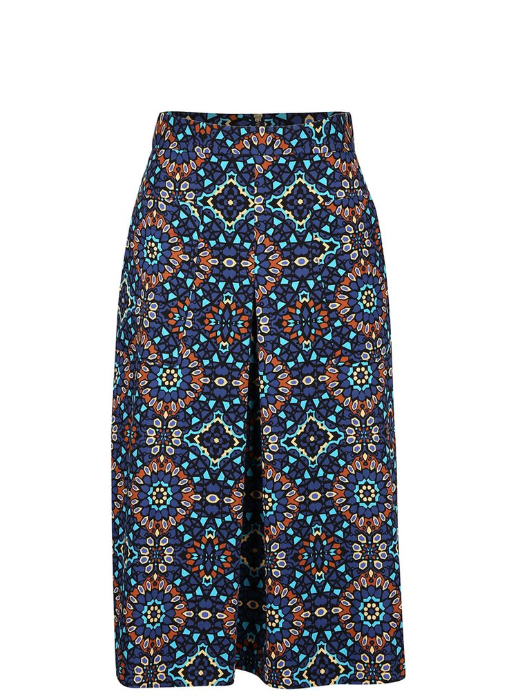 Hnedo-modrá vzorovaná midi sukňa Closet