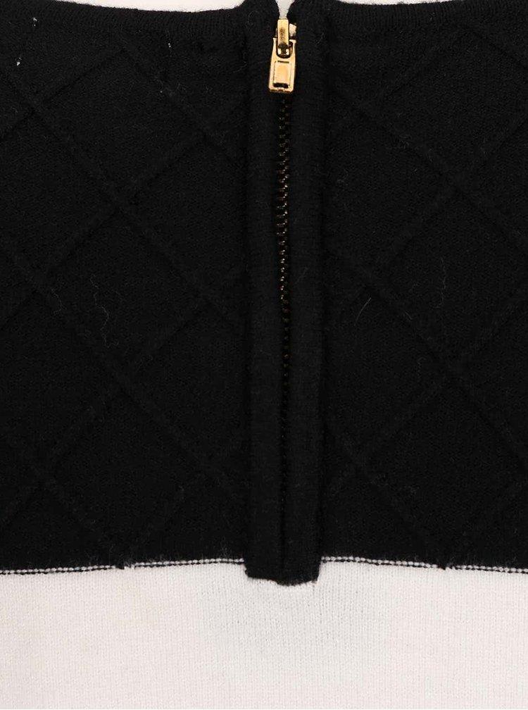Čierno-krémové svetrové šaty s dlhým rukávom Lavand