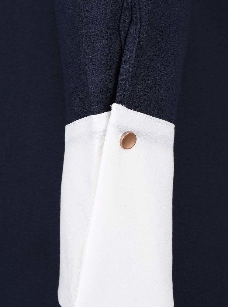 Tmavomodrá dlhá blúzka s bielymi manžetami Closet