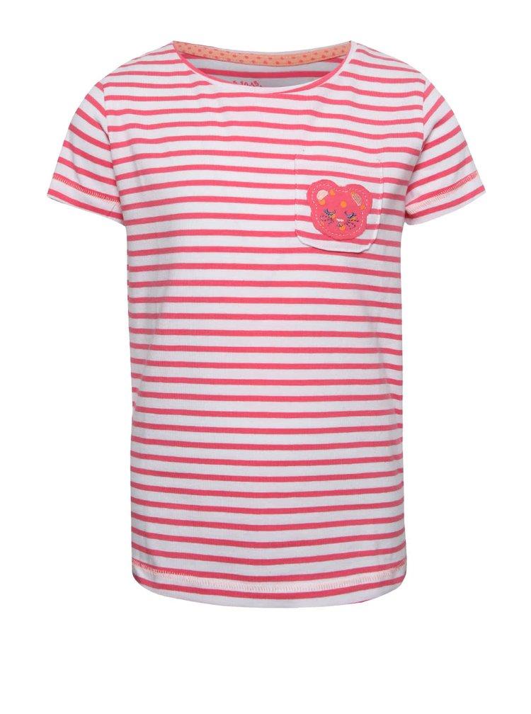 Krémovo-růžové holčičí pruhované tričko s kapsičkou 5.10.15.