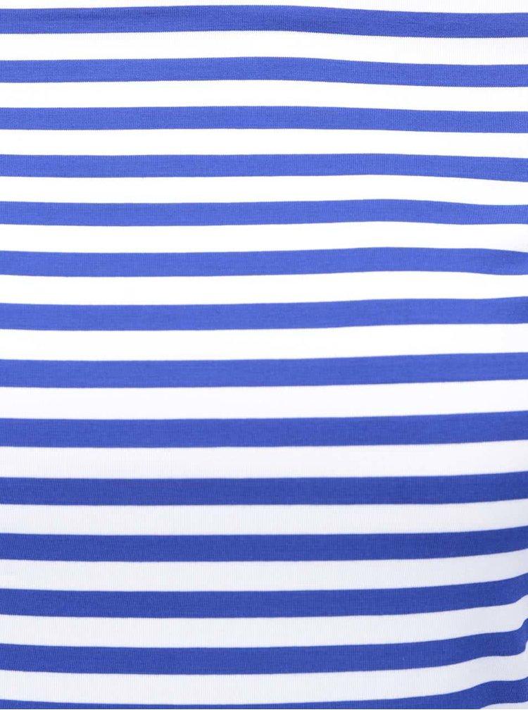 Bluza albastra in dungi Dolly & Dotty Gloria cu decolteu pe umeri