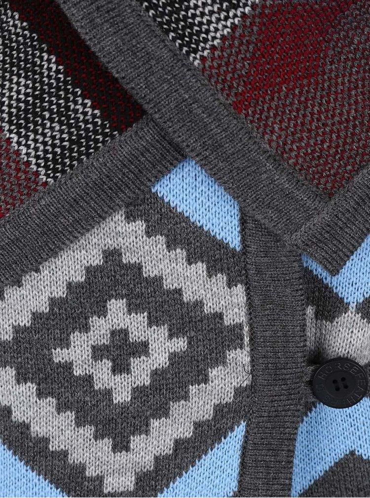 Modro-šedý dámský vzorovaný cardigan Horsefeathers Autumn