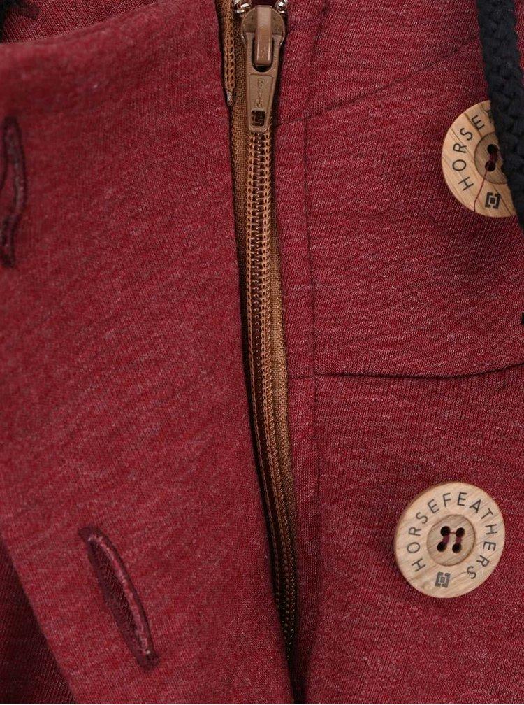 Vínová dámská žíhaná mikina s knoflíky Horsefeathers Nanook
