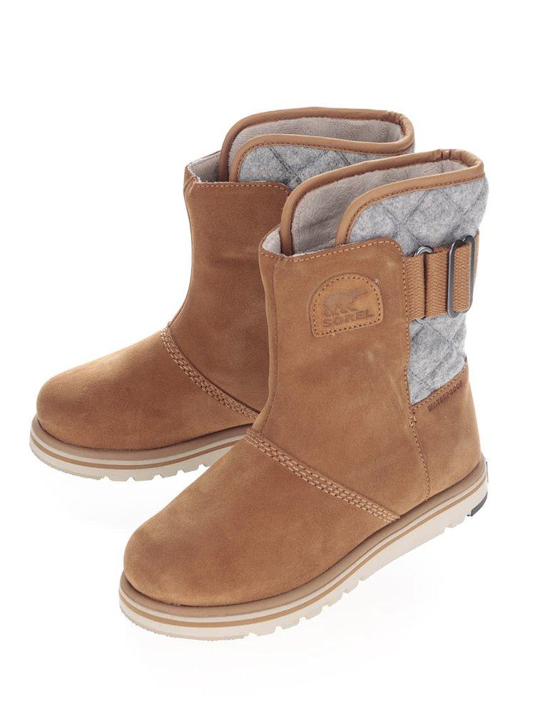 Sivo-hnedé kožené vodeodolné zimné topánky SOREL Rylee