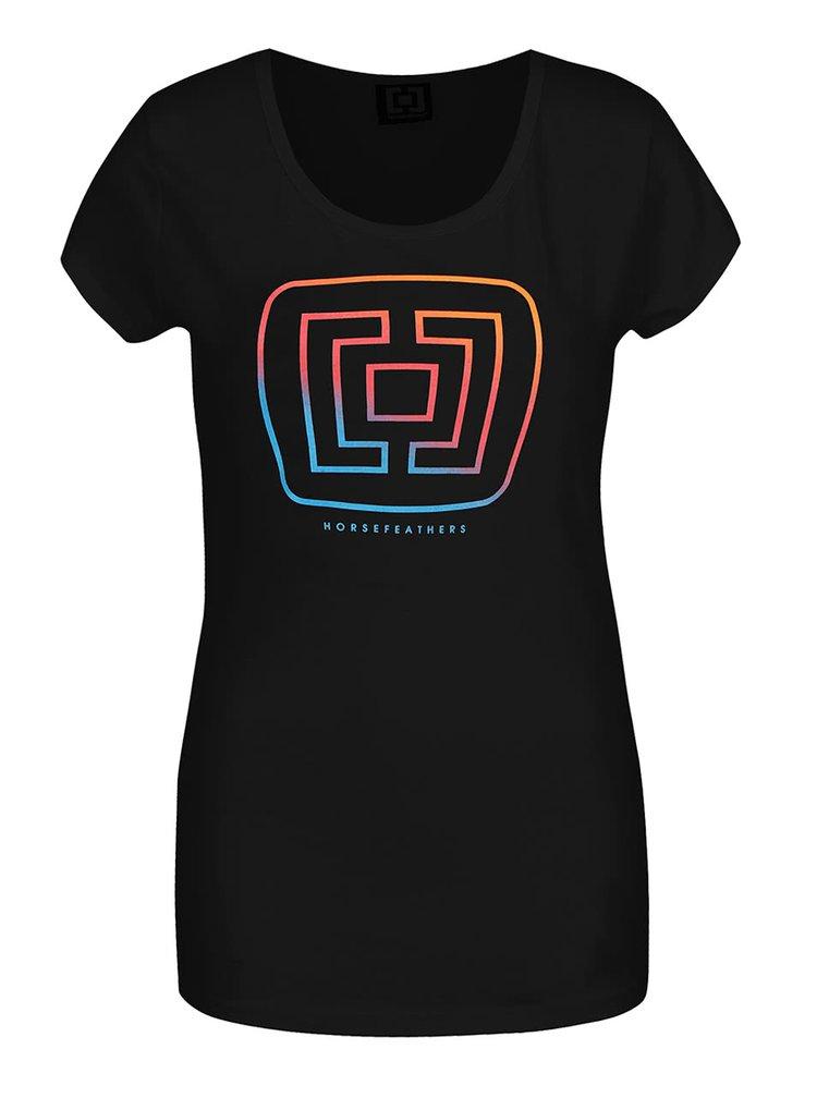 Černé dámské tričko s logem Horsefeathers Aurora
