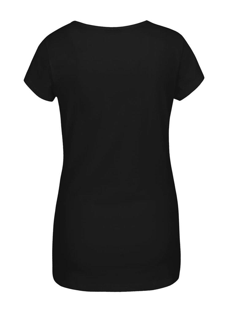 Čierne dámske tričko s potlačou medveďa Horsefeathers Polar Bear