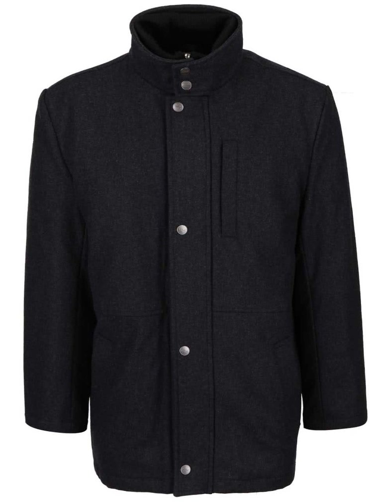 Sivý pánsky vlnený kabát v nadmernej veľkosti Seven Seas X-big