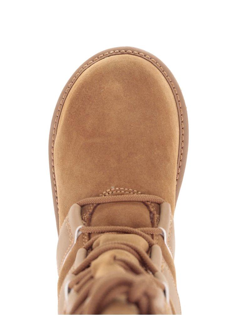 Hnedé kožené zimné topánky s viazaním SOREL Newbie Lace