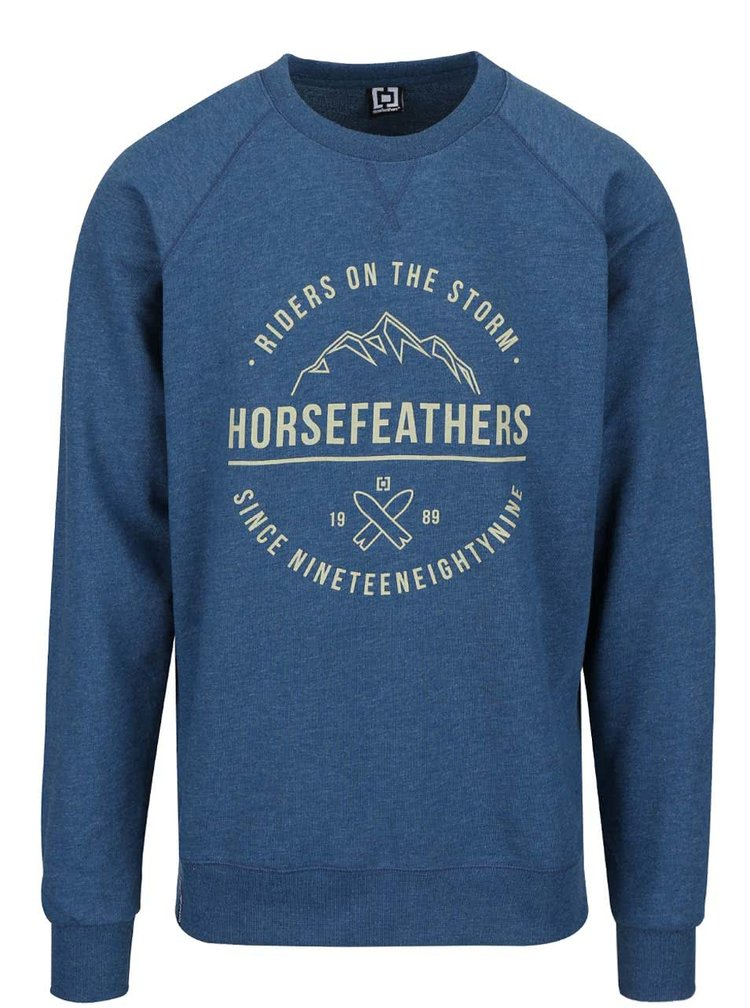 Modrá pánska melírovaná mikina s nápisom Horsefeathers Timothy