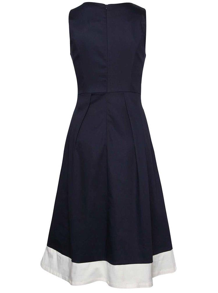 Tmavě modré šaty s krémovým lemem Dolly & Dotty Daphne