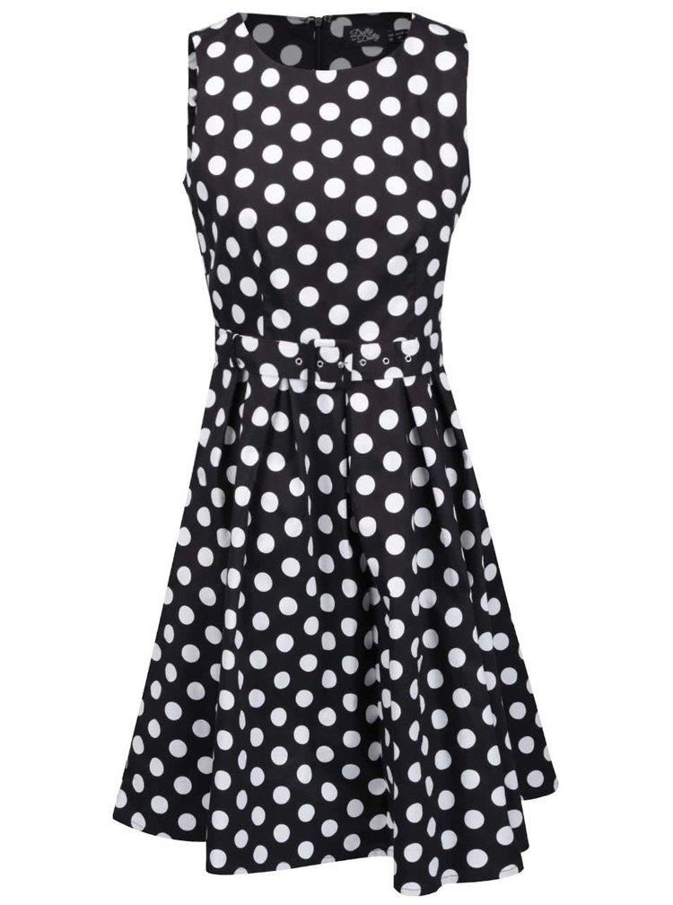 Čierno-biele bodkované šaty s opaskom Dolly & Dotty Annie