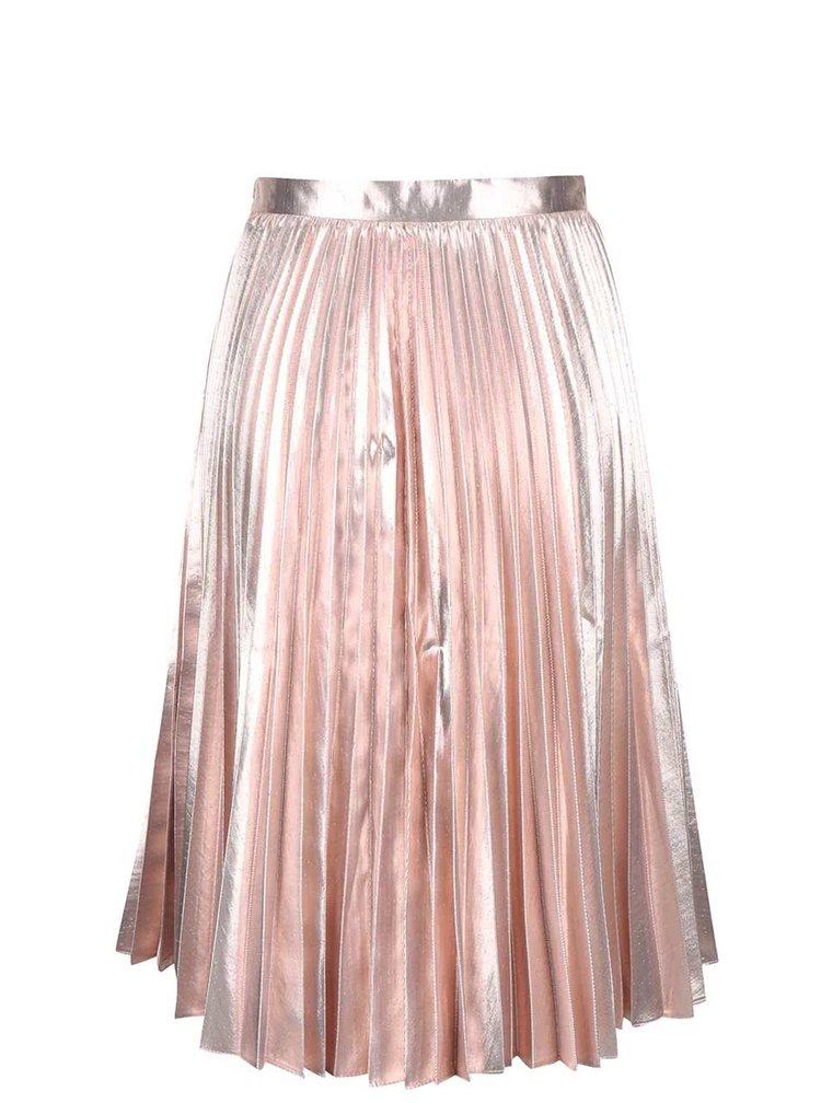 Fustă roz Closet cu pliuri și detalii metalice