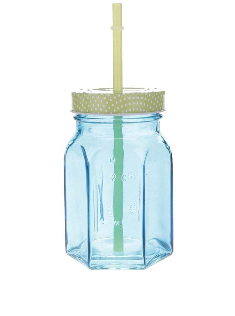 Světle modrá uzavíratelná sklenice s brčkem Kitchen Craft