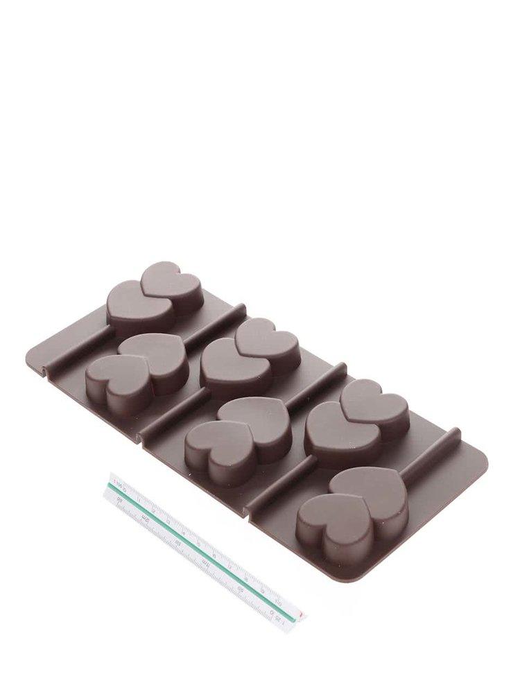 Hnedá silikónová forma na výrobu lízaniek v tvare srdiečok Kitchen Craft