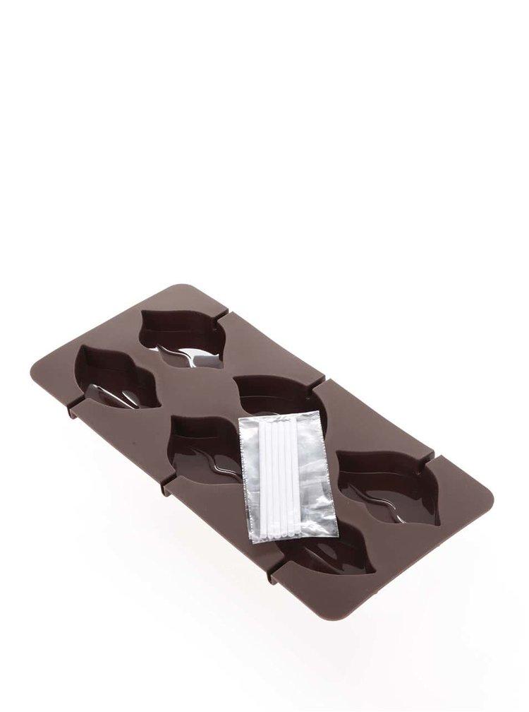 Hnedá silikónová forma na výrobu lízaniek v tvare pier Kitchen Craft
