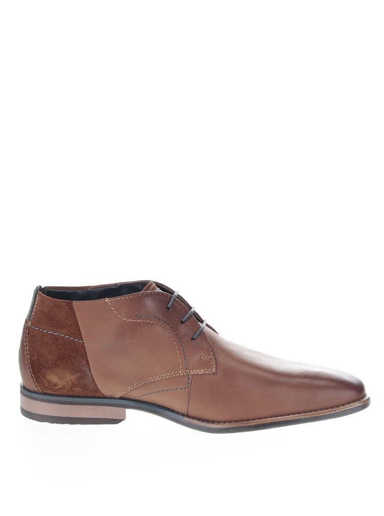 Hnědé pánské kožené kotníkové boty bugatti Hugo Evo