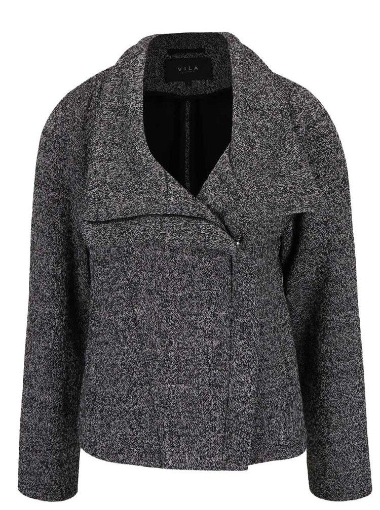 Jachetă gri melanj VILA cu fermoar