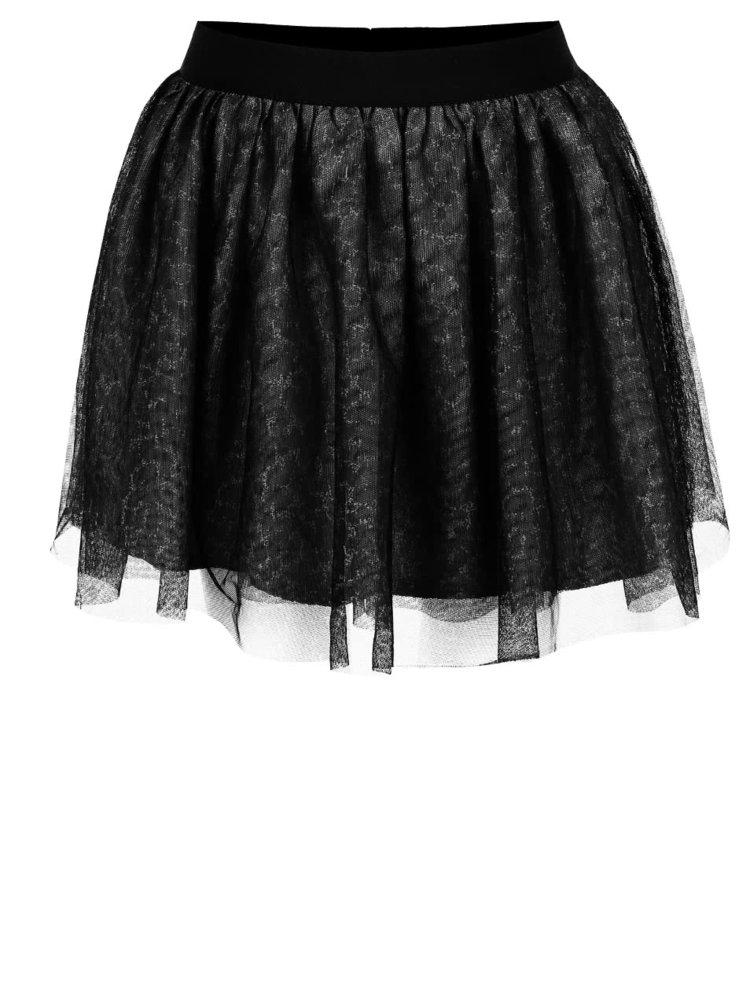 Čierna melírovaná dievčenská tylová sukňa name it Watina