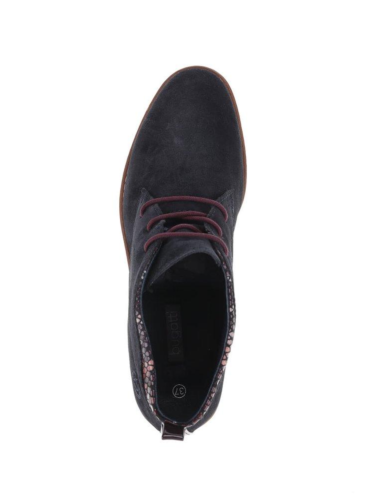 Tmavě modré dámské semišové kotníkové boty bugatti Davida