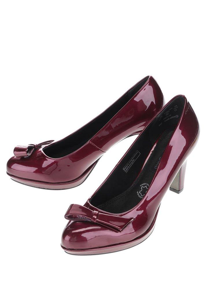 Pantofi cu toc bugatti Haven rosu burgundy cu funda