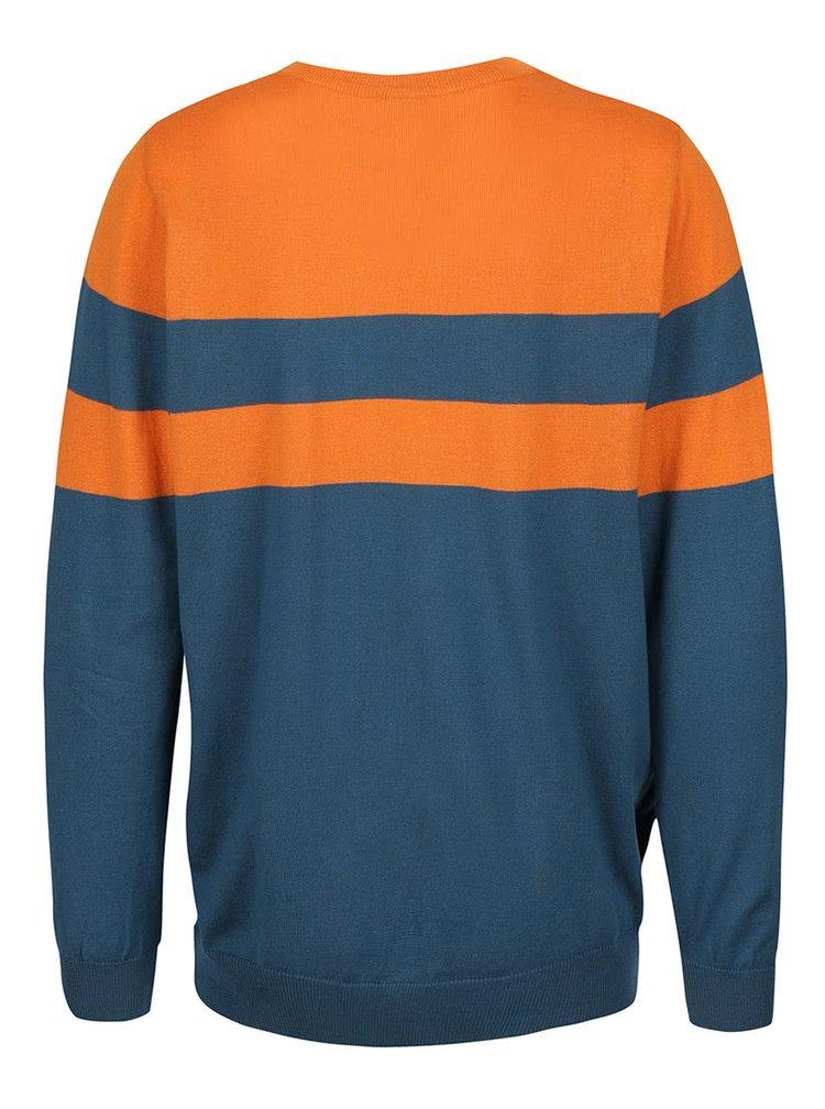 Oranžovo-zelený pánsky sveter s pruhmi Horsefeathers Walton