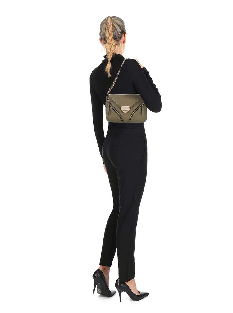 Kaki kabelka so zipsami a s klopou Andrea Bucci