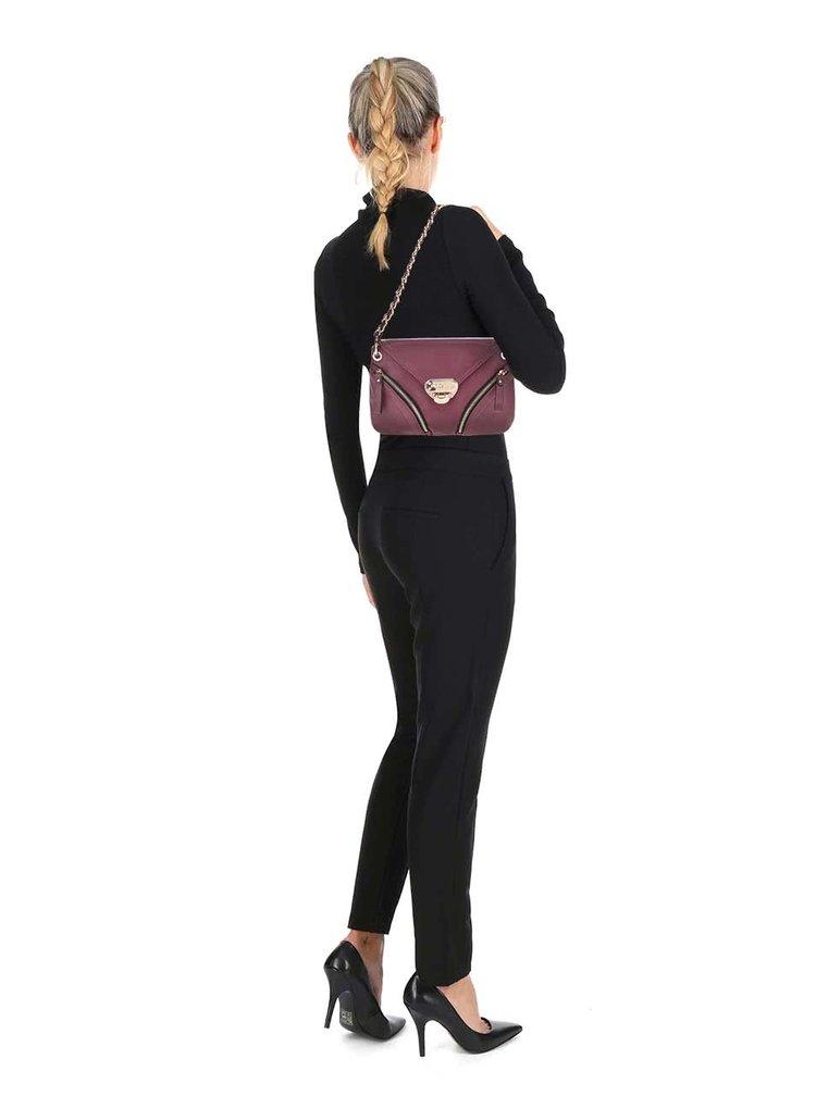 Vínová kabelka so zipsami a s klopou Andrea Bucci