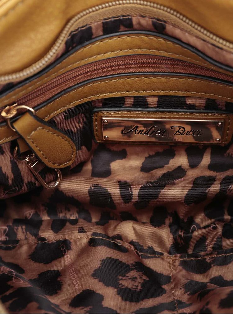 Hořcicová kabelka se zipy a klopou Andrea Bucci