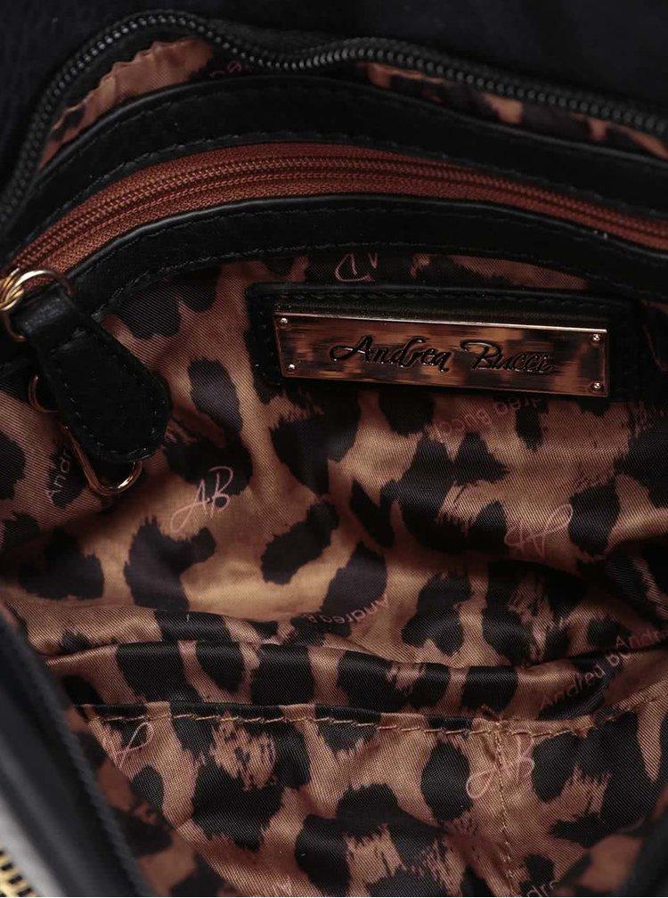 Geantă plic neagră Andrea Bucci cu interior animal print